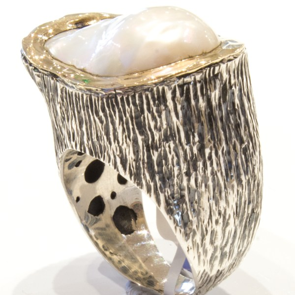 Baroque Deep Sea Pearl Gold and Silver Ring
