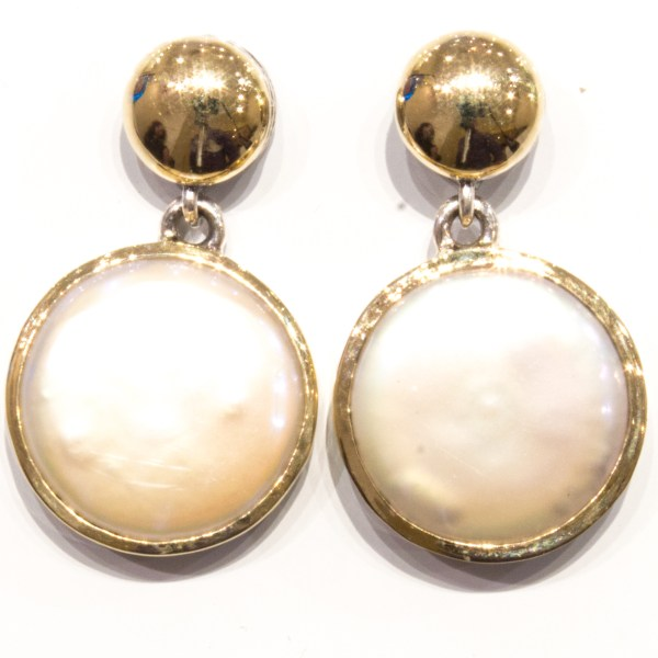 Coin Pearl Handmade Earrings With Gold and Silver