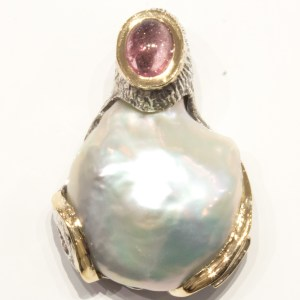 Large Baroque Pearl and Tourmaline Pendant
