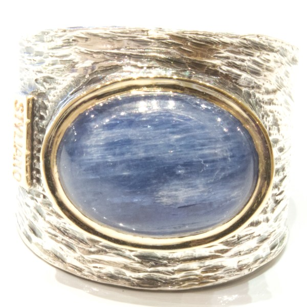 Handmade Large Kyanite Gold and Silver Ring