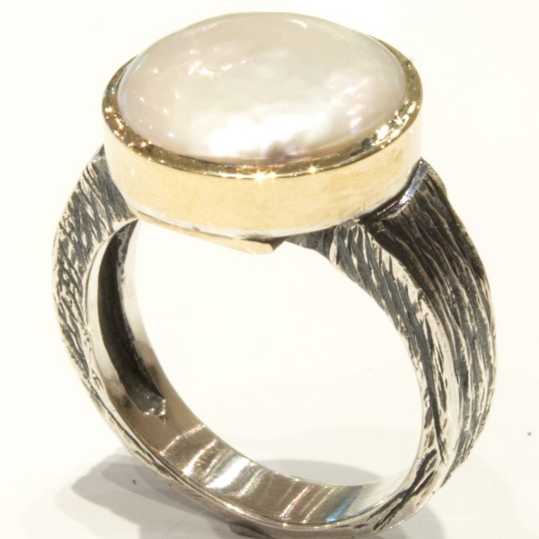 Coin Pearl Gold and Silver Handmade Ring