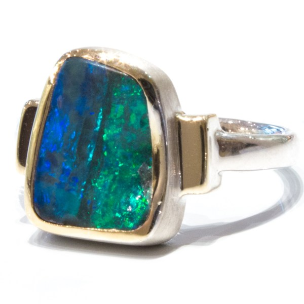 Contemporary Boulder Opal Gold And Silver Ring