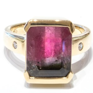 Bi-Coloured Tourmaline Gold Ring