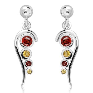 Garnet and Citrine Sterling Silver Earrings