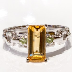 Citrine and Peridot Sterling Silver Ring