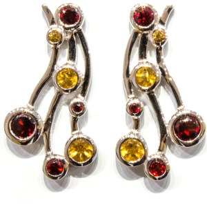 Handmade Silver Earrings with Garnet and Citrine
