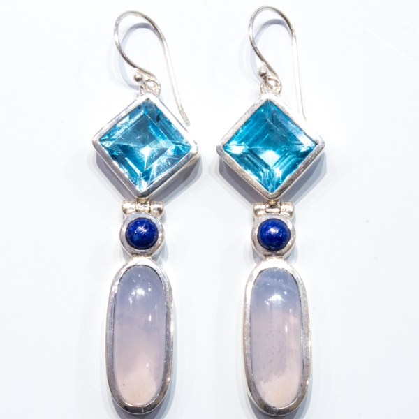 Blue Topaz and Blue Chalcedony Earrings