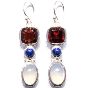 Unique Garnet and Blue Chalcedony Earrings
