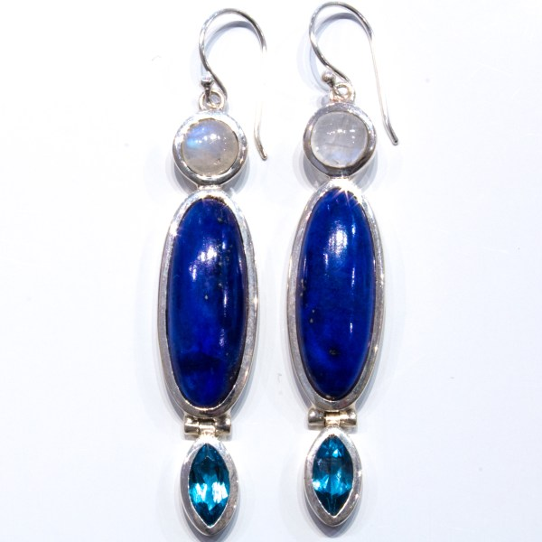 Trio Stone Drop Earrings