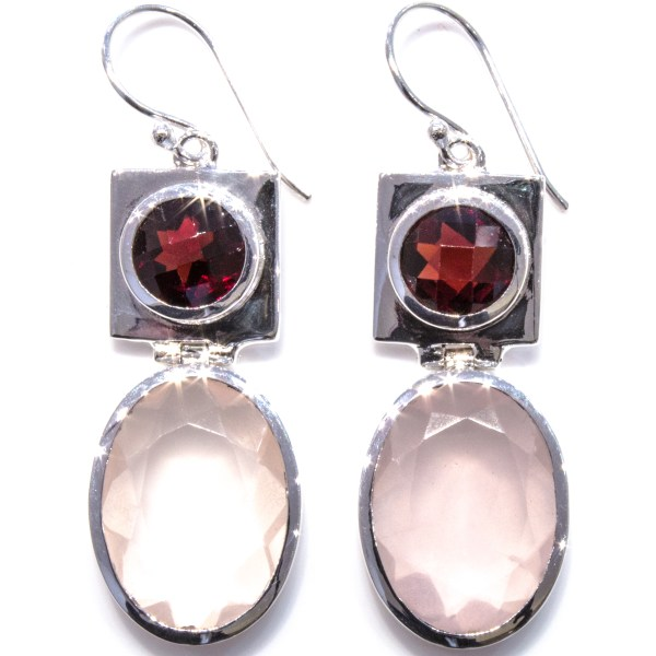 Garnet and Rose Quartz Earrings