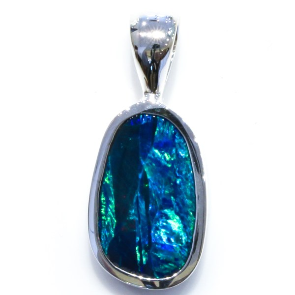 Bright Blue and Green Australian Opal Pendant