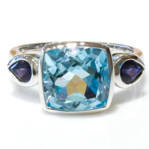 Blue Topaz and Iolites Handmade Ring