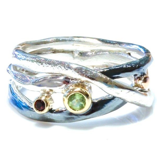 Handcrafted Israeli Ring with Garnet and Peridot