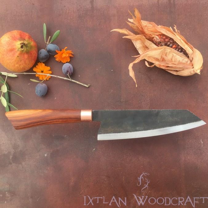 Bunka kitchen knife apple wood, copper