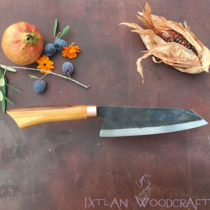 Bunka kitchen knife apple wood/copper