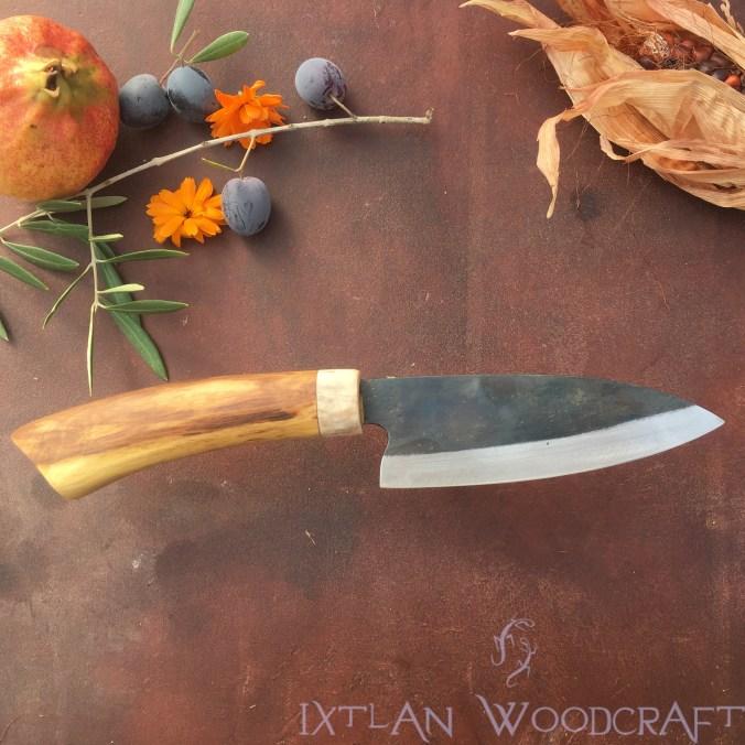 Tall Petty kitchen knife orange wood, deer horn