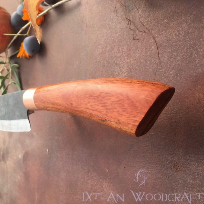 Tall Petty kitchen knife carob wood, copper