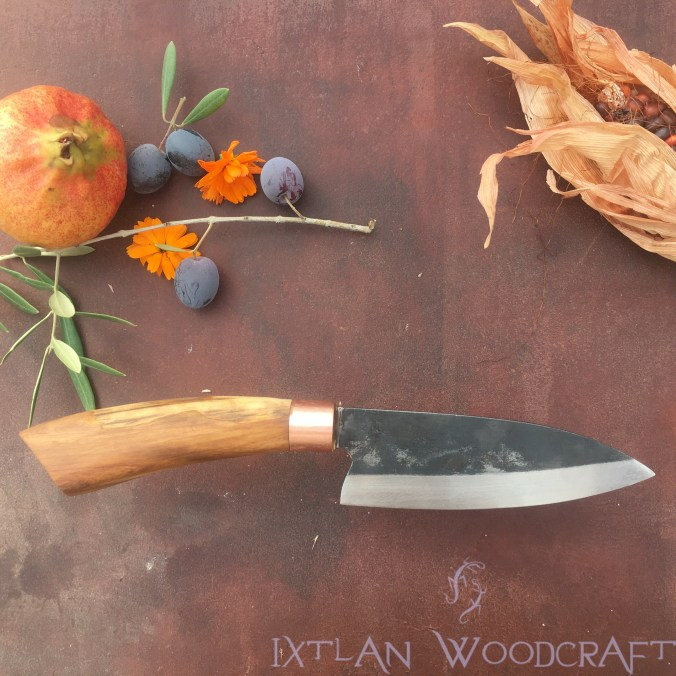 Tall Petty kitchen knife orange wood, copper