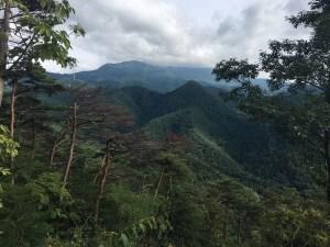 山頂から見た瀧山:千歳山で巨大キノコを見つける
