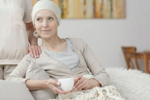 Happy woman with cancer