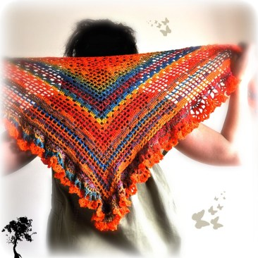 photo of the crazy fox crochet shawl