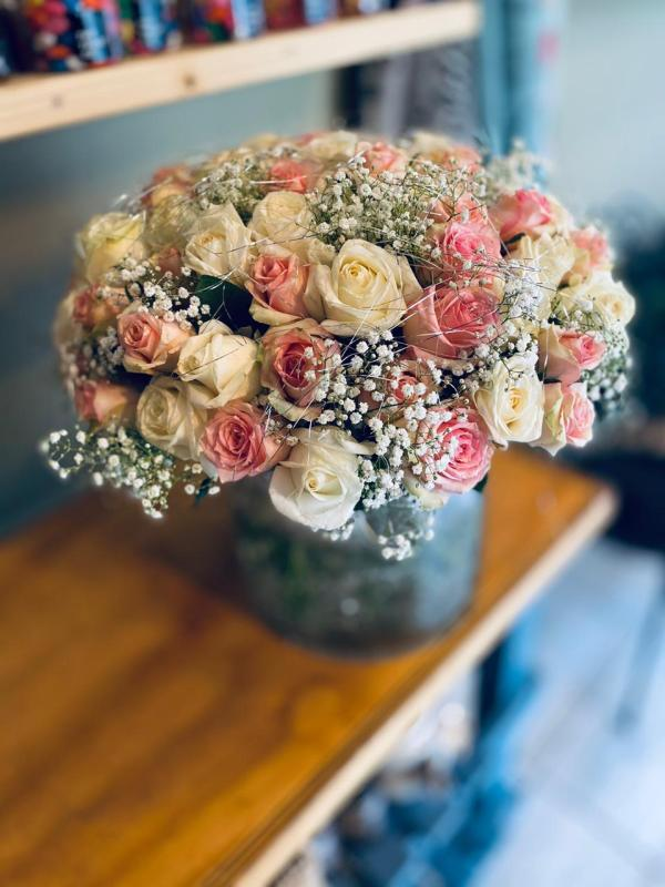 Pink and White Rose Bouquet (70 Stems)