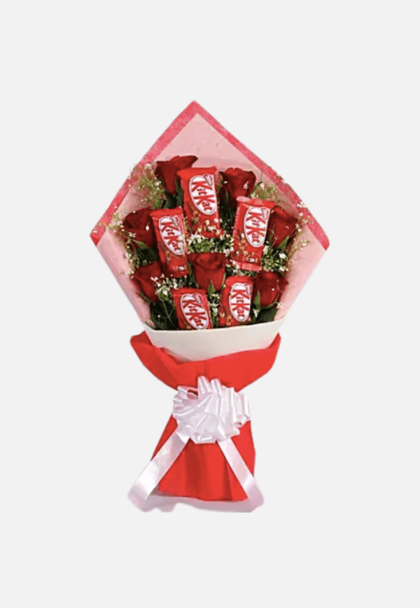Red Roses Bunch With Nestle Kitkat Chocolates