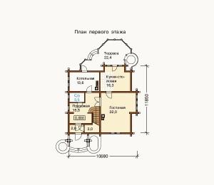 план 1 этажа коттеджа из бруса