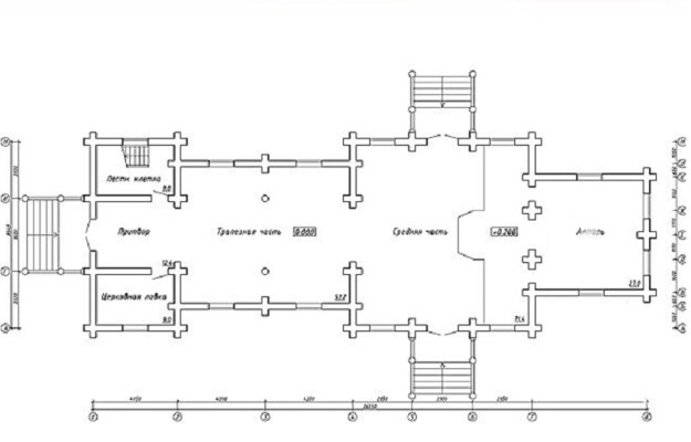 проект храма из оцилиндрованного бревна