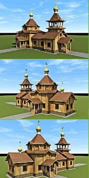 храм из оцилиндрованного бревна