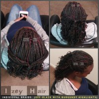 Individual Box Braids Curled with Rollers : Off-Black with ...