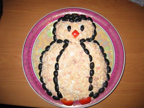 Салат «Пингвиненок» Новогодние салаты в год 2021