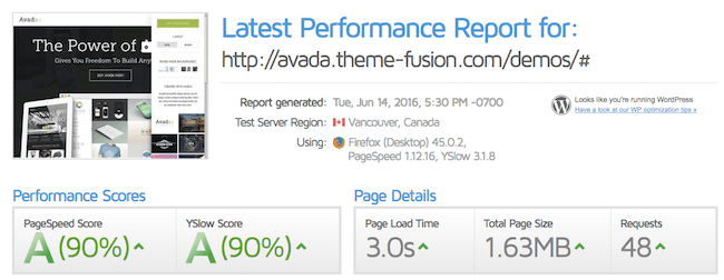 Avada wordpress theme - speed test