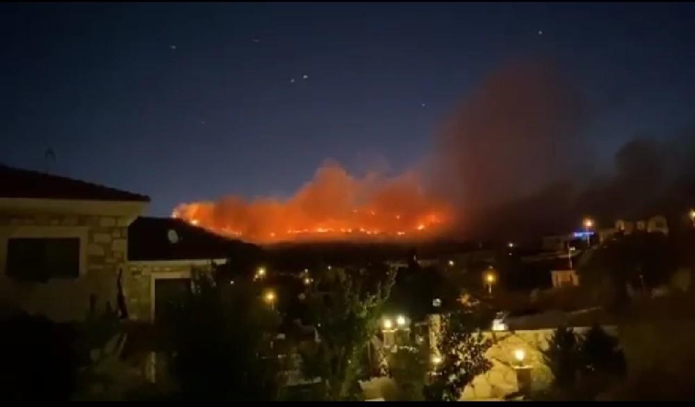 İzmir'in Foça ilçesinde meydana gelen orman yangınına çok sayıda ekip müdahale ediyor