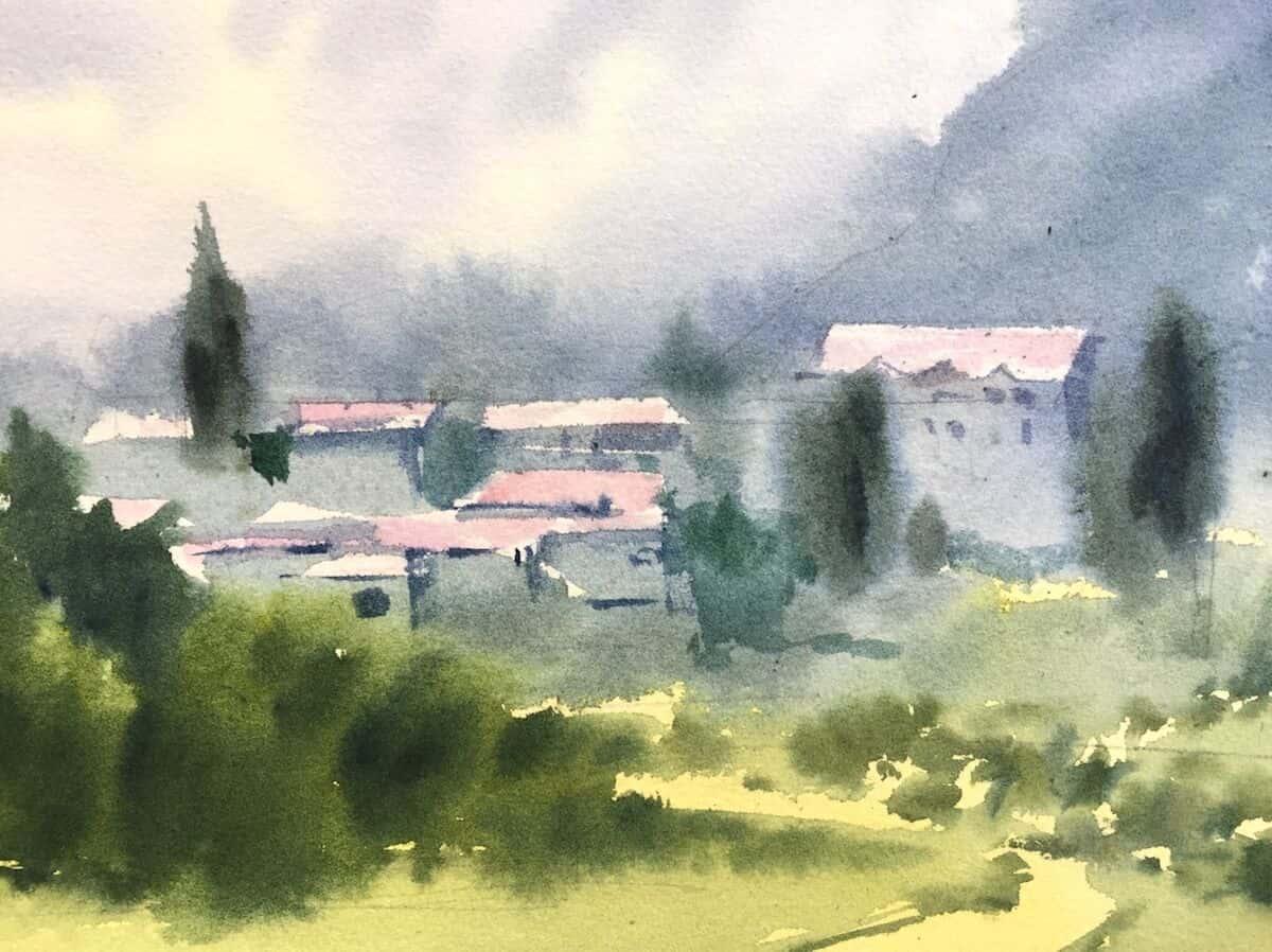 Акварель үйлерімен пейзаж