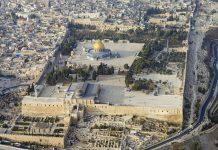 Légifelvétel a Templom-hegyről Jeruzsálemben