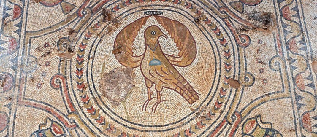 A padlózatot bonyolult, növényeket, madarakat és geometriai mintázatot tartalmazó mozaikok díszítették - fotó: Assaf Peretz / Izrael Régészeti Igazgatóság (IAA)
