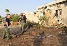 Rakéta-sújtotta épület Askelonban, ma - fotó: rendőrségi szóvivő