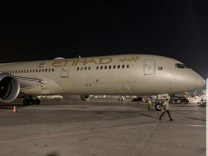 Az Egyesült Arab Emírségek repülőgépe Izraelben - fotó: Izraelinfo