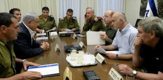 Netanjahu, Gantz, Ya'alon, Kochavi, Pardo, Yoram Cohen, Yossi Cohen és a biztonsági szolgálatok több vezető tagja, 2014 júniusában - fotó: Kobi Gideon / GPO