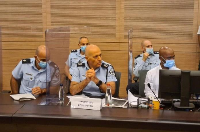 A rendőrség vezetői a kneszet bizottsági meghallgatásán - fotó: Arutz Hakneszet