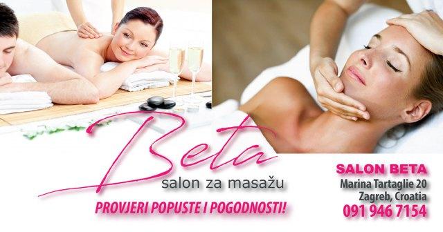 Salon za masažu Beta, kvalitetna masaža na Malešnici, Aromatska ili aroma masaža - relax masaža hladno prešanim certificiranim eteričnim uljima, Klasična masaža - pomoć kod problema s kičmom, smanjivanje boli, poboljšanje cirkulacije, metabolizma, detoksikacije i antistrenog učinka, Efikasna anticelulitna masaža za rješavanje problema s celulitom, Masaža leđa i cijelog tijela za žene i muškarce, Akcijske cijene masaže u Zagrebu