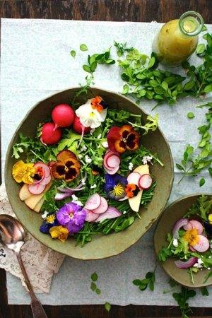Kuhajte s cvijećem, salata od jestivog cvijeća