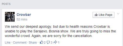 Kratka poruka Crowbara na njihovoj službenoj najavi sarajevskog koncerta na Facebooku.