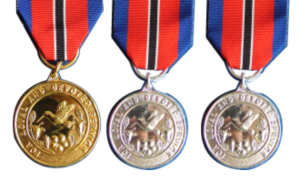 Hummingbird Medals of Gold Silver and Bronze for Long and Meritorius Service
