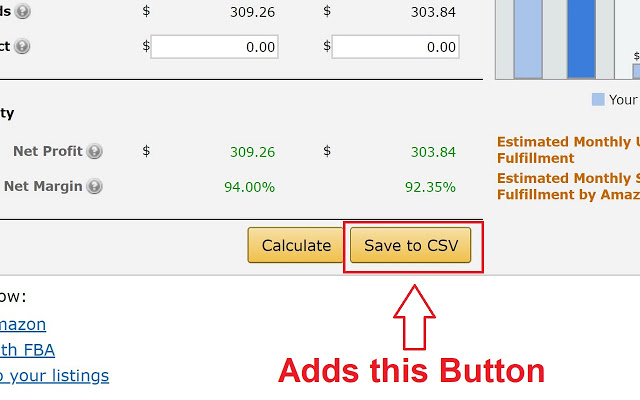 chrome extension save fees as CSV