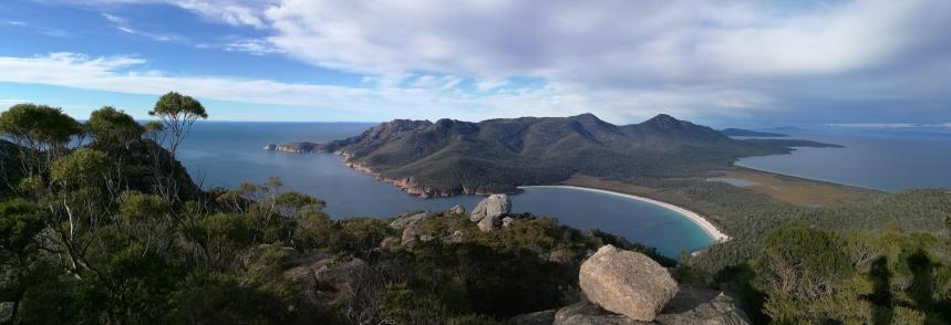 Wineglass bay from top of Mt Amos