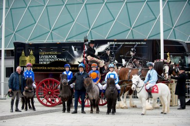 Olympian Geoff Billington (Left) with riders and ponies of the Shetland Grand National - Ride Into Liverpool, promoting the Liverpool International Horse Show 2017 which takes place at the Liverpool Echo Arena, 31 Dec 2016 - 02 January 2017 - Liverpool Waterfront, United Kingdom - 25 October 2016