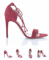 Rupert Sanderson new mitra ravel strappy sandal in pinky red with gold underheel embellishment