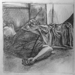Jas and a record 10x10 : Soft pencil, Charcoal. February 2015